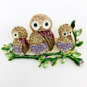 Napier 3 Gold Jeweled Owls Pin Brooch